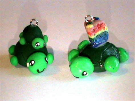 Handmade Polymer Clay Charms - handmade polymer clay turtle charms by p0lymerqueen on