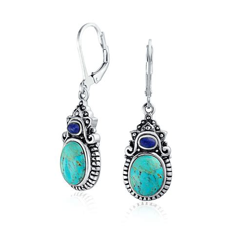jewelry earrings bling jewelry blue turquoise lapis sterling silver dangle