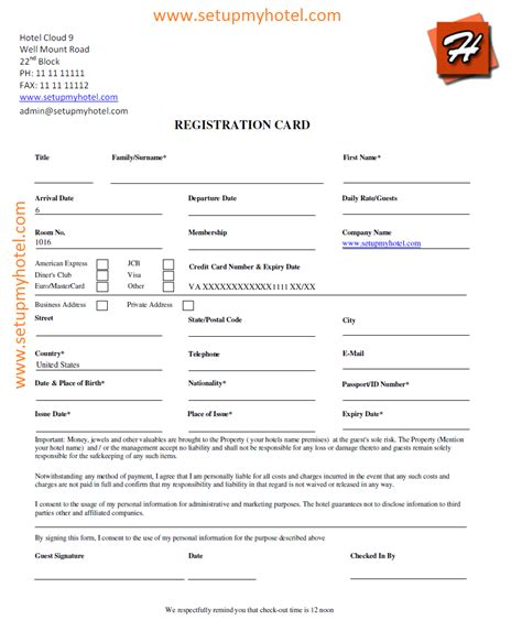 Front Desk Guest Registration Card Sle Hotel Guest Registration Form Template