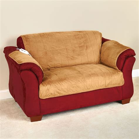 Heated Recliner Cover by The Heated Furniture Cover Seat Hammacher Schlemmer