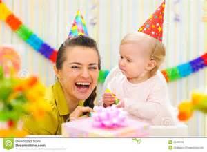celebrating birthday of baby royalty free