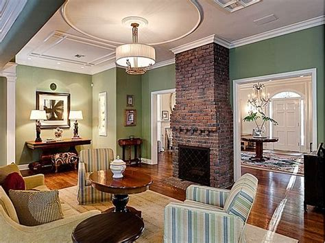 brick fireplace with green wall green blue butter