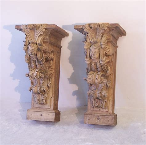 Carved Corbels Pr 17th To 18th Century Architectural Carved Wood Corbels