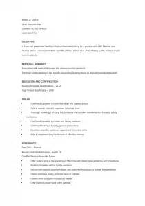 Resume Sles For Cna by Free Sle Certified Nursing Assistant Resume