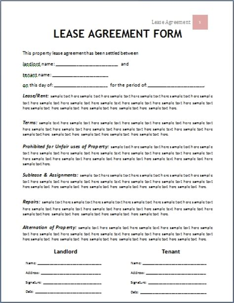 Lease Agreement Template Beepmunk Facility Rental Agreement Template Word