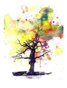 spooky tree in a splash of color landscape watercolor painting
