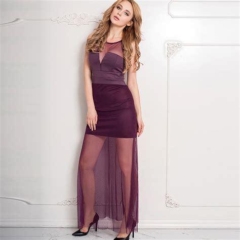 Dress Maxi Purple Elegan rw70235 sleeveless dress with floor length sheer overlay maxi dress purple