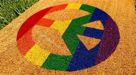 Peace Doormat - rainbow peace sign custom handpainted doormat by