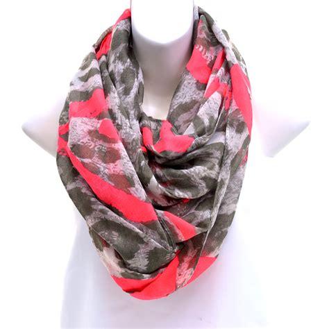 desain print lop women s sheer leopard print loop scarf with artsy heart
