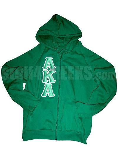 Lettering Zip Up Jacket green alpha kappa alpha zip up hoodie with aka letters