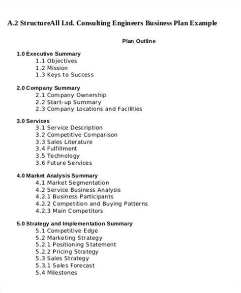 consulting business plan template 12 consulting business plan templates free word pdf
