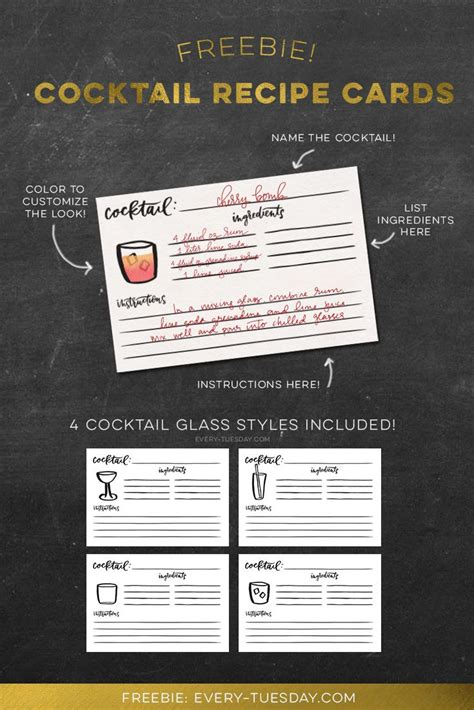 cocktail cards template 25 best ideas about printable recipe cards on