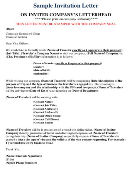 Official Visa Letter Sle Invitation Letter For Visa 9 Exles In Word Pdf