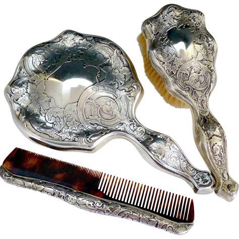 silver mirror set nouveau sterling silver vanity brush mirror