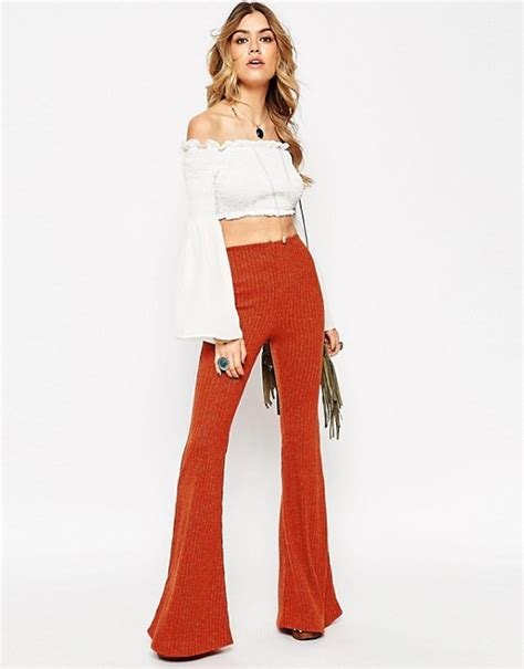 70s Flare by Asos Asos 70 S Flare Trousers In Ribbed Lurex