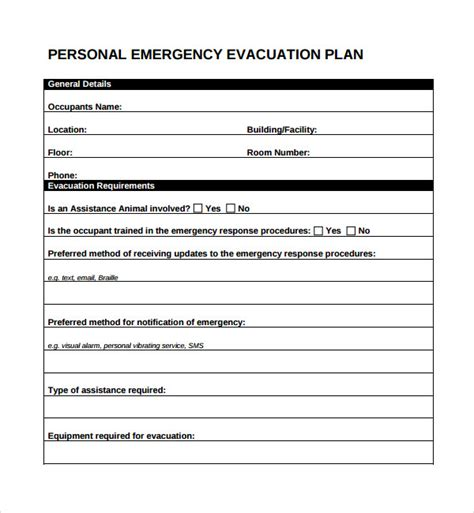 emergency plan for home sle evacuation plan template 9 free documents in pdf