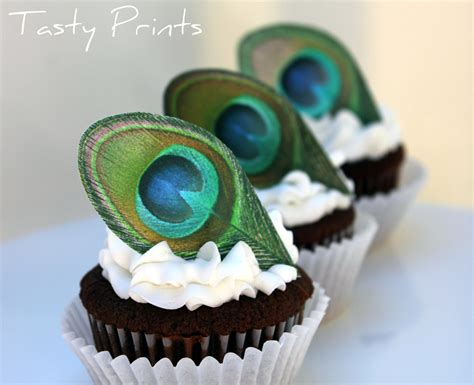 12 edible peacock feather classic cupcake topper by