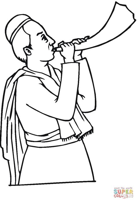 coloring pages for yom kippur rabbi blowing a shofar coloring page free printable