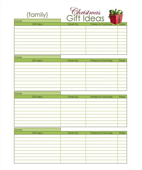 27 Christmas Gift List Templates Free Printable Word Pdf Jpeg Format Download Free Printable Gift List Template