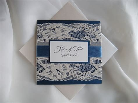 Wedding Invita by Wedding Invitation Lace Wedding Invitation Navy Blue