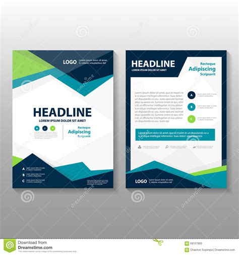 Abstract Triangle Blue Green Purple Polygon Annual Report Leaflet Brochure Flyer Template Design Free Mailer Design Templates