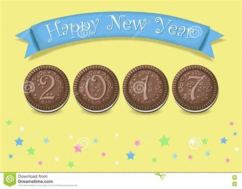 new year chocolate cookies happy new year 2017 chocolate cookies stock vector
