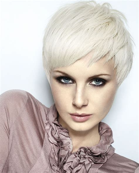 short white hair blonde hair color of very short hairstyle style for women