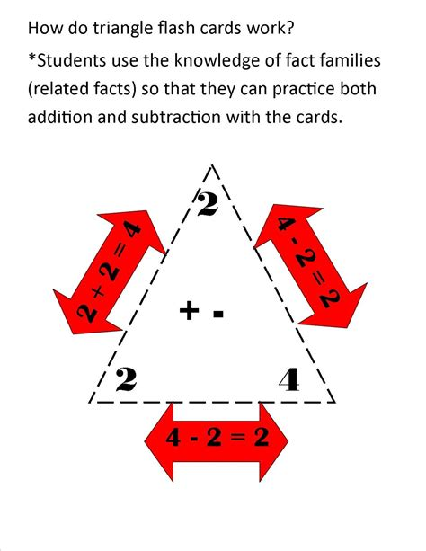 printable triangle flash cards addition subtraction printable fact triangles worksheets activity shelter