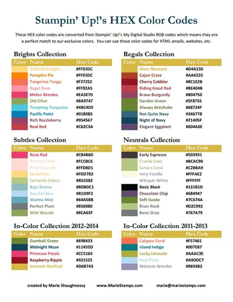color up hex color codes stin up 2012 2013 pdf su tips