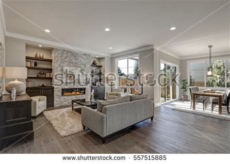 what color furniture goes with grey flooring living room interior gray brown colors stock photo