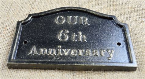 6th wedding anniversary plaque, solid cast iron gifts by