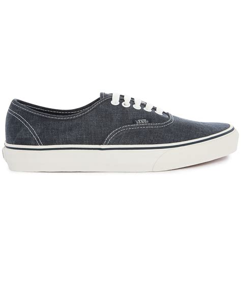 vans authentic washed blue denim sneakers in blue for