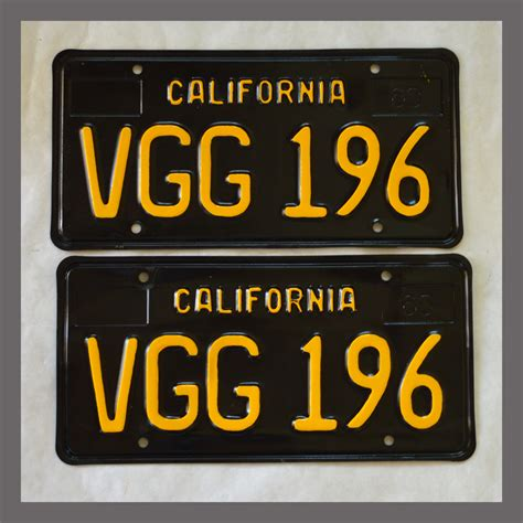 Vanity Plates For Sale by 1963 California Yom License Plates For Sale Restored