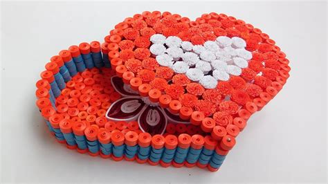 paper quilling box tutorial quill paper how to make paper quilling gift box youtube