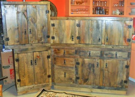 hand made rustic kitchen cabinets by the bunk house