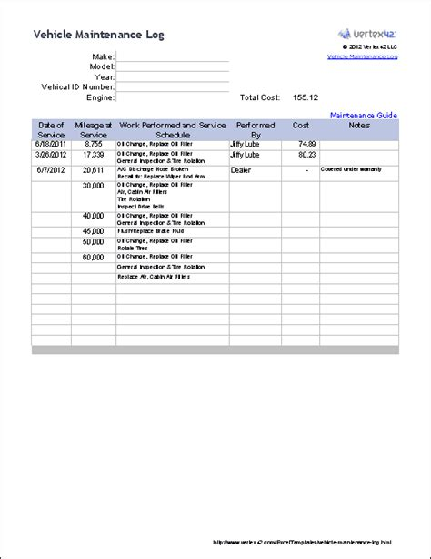 vehicle service record template excel templates