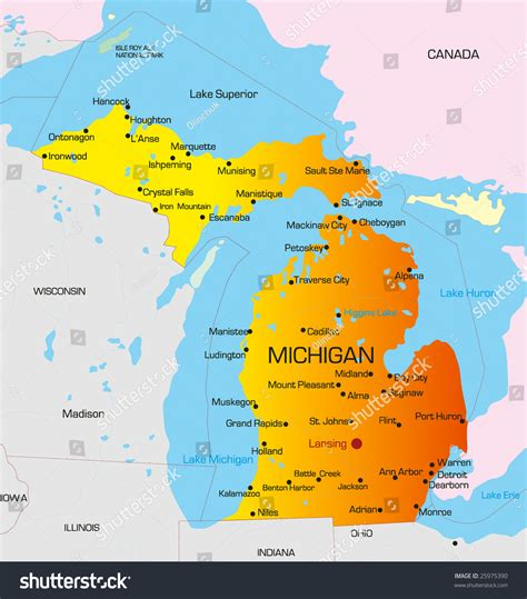 map michigan usa vector color map michigan state usa stock vector 25975390