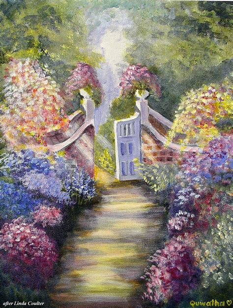 Through The Garden by Through The Garden Gate Painting By Quwatha