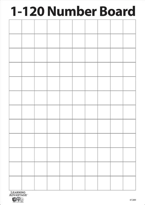 1-120 Number Two Sided Dry Erase Board with Blank Grid
