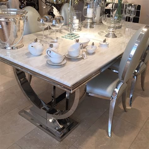 chrome dining table marble and chrome dining table with u shaped legs