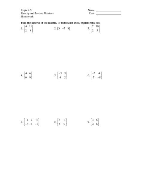 matrices practice worksheet worksheet matrices worksheets caytailoc free printables worksheets for students
