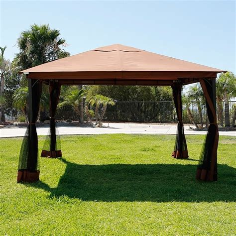 10x10 Deck Gazebo 10 X 12 Patio Gazebo Canopy With Mosquito Netting