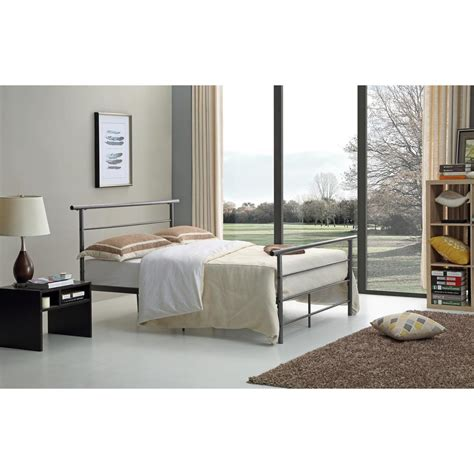 silver queen bed black silver queen bed frame hi829 q blk sil the home