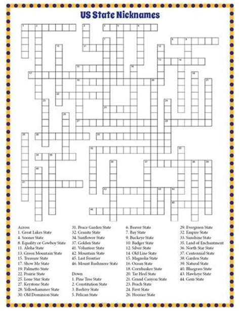 usa states crossword puzzle us state nicknames crossword puzzle