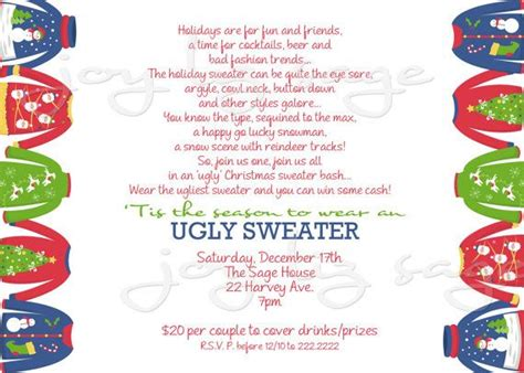 holiday ugly sweater invitation digital file print
