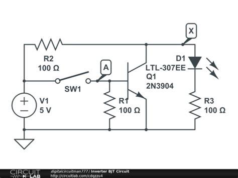 transistor npn inverter inverter bjt circuit circuitlab