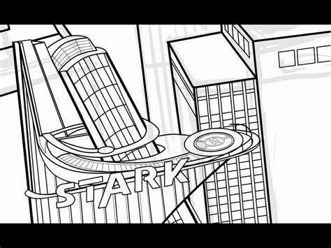 Avengers Tower Coloring Pages | inking stark tower part 3 youtube