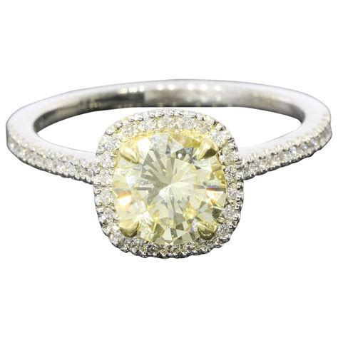 fancy light yellow canary gold platinum halo ring