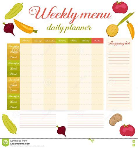 printable weekly planner retro weekly menu cute vintage daily planner stock vector
