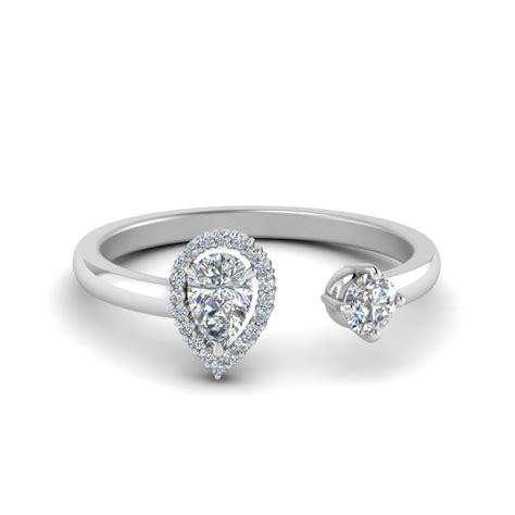 open halo pear engagement ring in 14k white gold